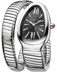 BVLGARI - Stainless Steel And Pink Rubellite Serpenti Tubogas Watch 35mm - Lyst