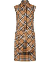 Vintage Check Cotton Tie-neck Dress.  850. Stefania Mode · Burberry -  Sleeveless Check Shirt Dress - Lyst 254dcf47790