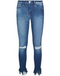 FRAME - Le Skinny De Jeanne Frayed Hem Jeans - Lyst
