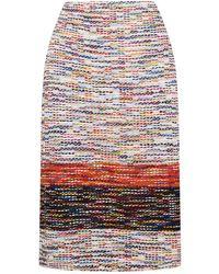 St. John - Multicoloured Tweed Midi Skirt - Lyst