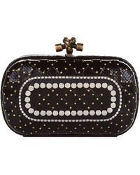 c602477fc62 Lyst - Bottega Veneta Knot Butterfly Snakeskin Clutch Bag in Black
