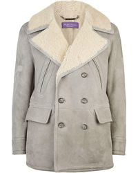 Ralph Lauren Purple Label - Shearling Collar Coat - Lyst