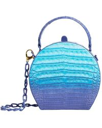 Nancy Gonzalez Crocodile Billie Box Bag - Blue
