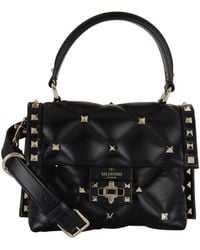 ef5a64c8a1 Valentino Rockstud Patent Leather Tote Bag in Black - Lyst