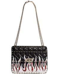 2cccfe7cbe42 Valentino Rockstud Spike Embellished Shoulder Bag in Black - Lyst