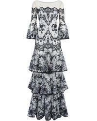 Marchesa notte - Tiered Lace Gown - Lyst
