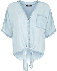 PAIGE - Baylee Tie Front Denim Shirt - Lyst