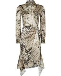 Roberto Cavalli - Macro Python Silk Shirt Dress - Lyst