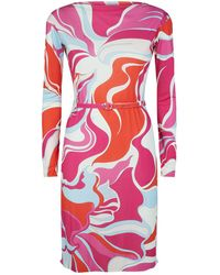 Emilio Pucci - Belted Printed Dress - Lyst
