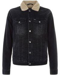 7 For All Mankind - Trucker Jacket Velvet Coal Black - Lyst