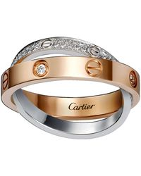 Cartier - White And Pink Gold Diamond-paved Love Ring - Lyst