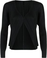 Pleats Please Issey Miyake - Cropped Pleated Cardigan - Lyst