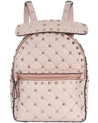 Valentino | Mini Crinkled Leather Spike Backpack | Lyst