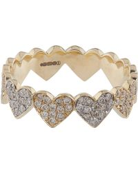 Sydney Evan - Yellow And White Gold Diamond Heart Eternity Ring - Lyst