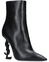 0089db034cb5 Saint Laurent - Opyum Ankle Boots In Leather With Black Heel - Lyst