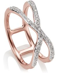 Monica Vinader - Riva Wave Cross Ring - Lyst