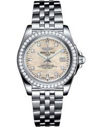 Breitling - Stainless Steel Galactic Sleek Diamond Bezel Quartz Watch 32mm - Lyst