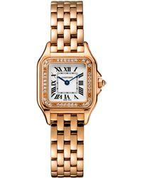 Cartier - Small Pink Gold Diamond Panthre De Watch 22mm - Lyst