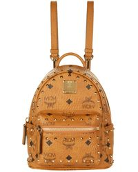cae7a0a8680 MCM - Stark Extra-mini Backpack In Cognac Synthetic Material - Lyst