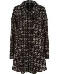 Faith Connexion - Oversized Wool Blend Tweed Cape Jacket - Lyst