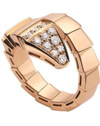 BVLGARI - Serpenti 18ct Pink-gold And Diamond Ring - Lyst