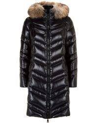 a81c418b9d50 Moncler Fulmar Fox Fur Trim Coat in Brown - Lyst