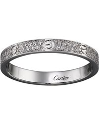 Cartier - Small White Gold Diamond Love Ring - Lyst