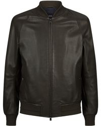 BOSS - Perforated Leather Bomber Jacket - Lyst