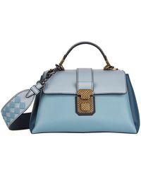6566ee23342b Lyst - Bottega Veneta Leather Intrecciato Top Handle Bag in Black