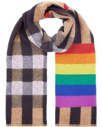 Burberry - Reversible Rainbow Stripe And Check Cashmere Scarf - Lyst