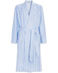 Harrods - Brushed Cotton Striped Robe - Lyst