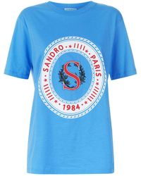 Sandro - Embroidered Logo T-shirt - Lyst