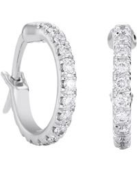 De Beers - Small White Gold And Micropav Diamond Hoop Earrings - Lyst