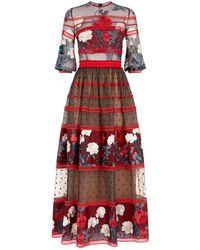 Costarellos - Floral Lace Tiered Midi Dress - Lyst