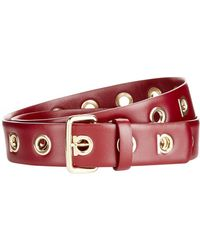Ferragamo | Leather Gancio Logo Belt, Red, One Size | Lyst
