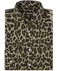Tom Ford - Leopard Print Slim Fit Shirt - Lyst