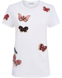 Valentino - Butterfly Embellished T-shirt - Lyst