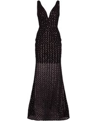 b8372a711cf7 ASOS Red Carpet Lattice Tabard Floral Cut Out Midi Dress in Gray - Lyst