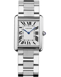 Cartier - Large Stainless Steel Tank Solo Watch 27mm - Lyst