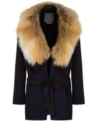 Lilly E Violetta - Cashmere Fox Fur Trim Coat - Lyst