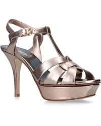 549e889c0e3e Saint Laurent - Platform Sandals Tribute 75 Calfskin Pale Pink - Lyst