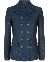 St. John - Tweed Double Breasted Jacket - Lyst