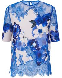Costarellos - Floral Lace Top - Lyst