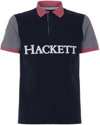 Hackett - Colour Block Logo Polo Shirt - Lyst