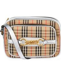 61b137614f Lyst - Burberry Smoke Check Cosmetic Bag in Natural