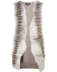Harrods - Cashmere Fox Fur Panel Gilet, Brown, S - Lyst