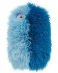 Charlotte Simone - Fox Fur Iphone Case, Blue, One Size - Lyst