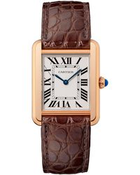Cartier - Small Pink Gold Tank Solo Watch 24mm - Lyst