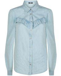 PAIGE - Layda Ruffle Detail Denim Shirt - Lyst