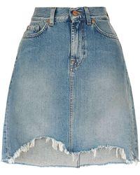 7 For All Mankind - Distressed Hem Mini Skirt - Lyst